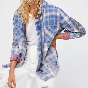 Free people plaid studded oversized zip jacket